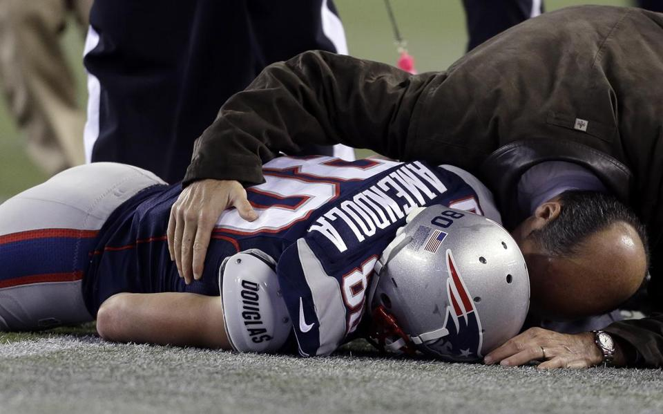 Danny Amendola was face-first on the turf after he was injured in the third quarter.