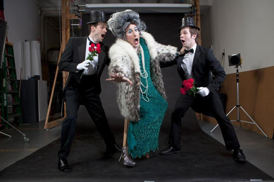 """Audiences often report the uncanny feeling they have met someone like Mrs. Smith. . . . And then it goes to the deep end of eccentricity and bizarreness,'' says David Hanbury (center), who plays the title character  in ""Mrs. Smith Live!"" at Oberon."