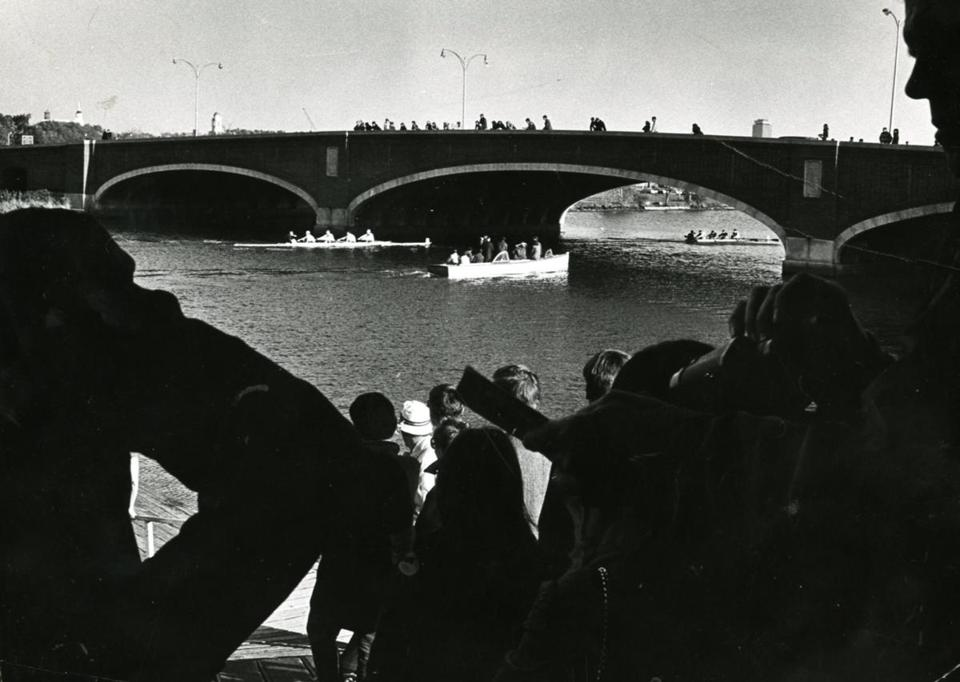 October 27 1968 / fromthearchive / Boston Globe Archive photo / The Eliot Bridge was only lightly populated with spectators in 1968&lt;br /&gt;<br />