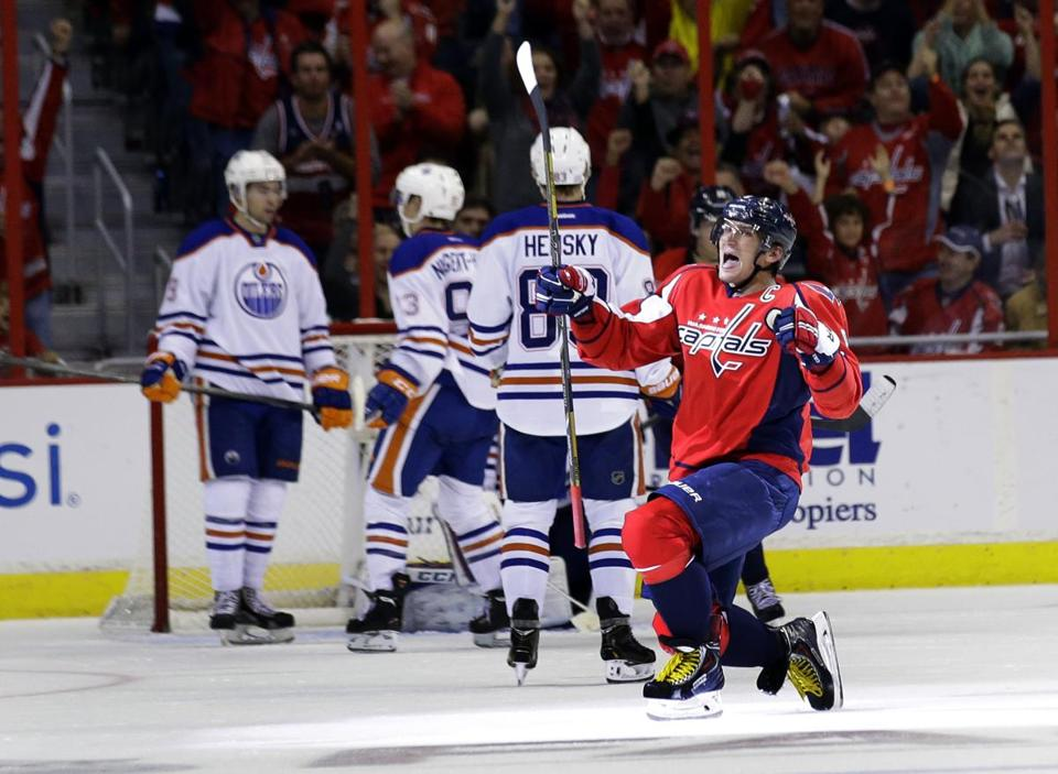 Never shy, Capitals star Alex Ovechkin unleashes an enthusiastic celebration after his goal in the second period against the Oilers.