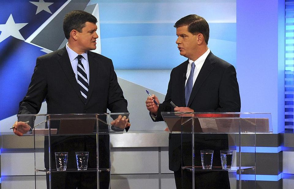John R. Connolly and Martin J. Walsh squared off in the first of three live televised debates in the race's final weeks.