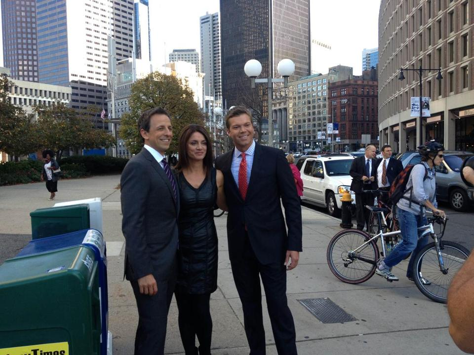 Seth Meyers (left) with Kim Khazei and Adam Williams of Channel 7.