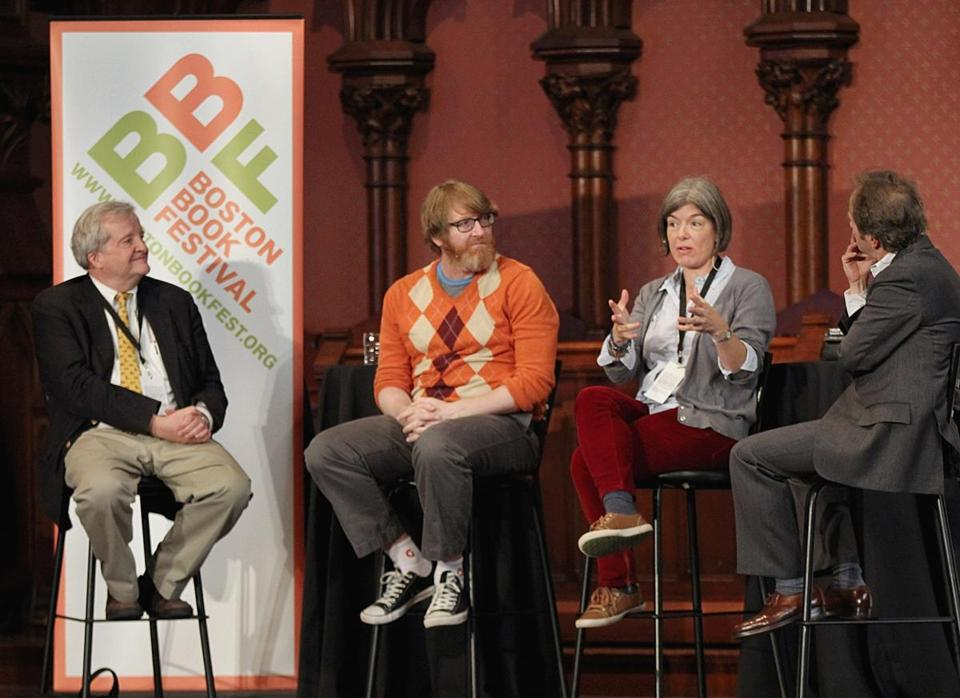 "At the Old South Church (from left): Boston Book Festival guest authors Gregory Nagy, Chuck Klosterman, and Claire Messud discuss ""Heroes and Antiheroes"" with moderator Joseph Koerner."