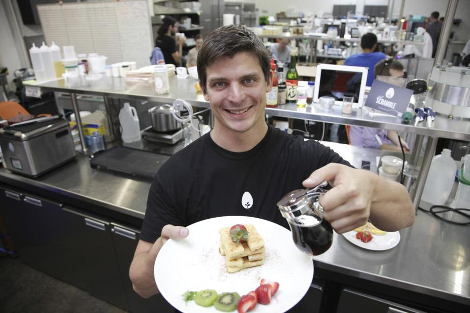 Hampton Creek Foods founder and chief executive Josh Tetrick displayed French toast made with his firm's plant-based imitation egg product.