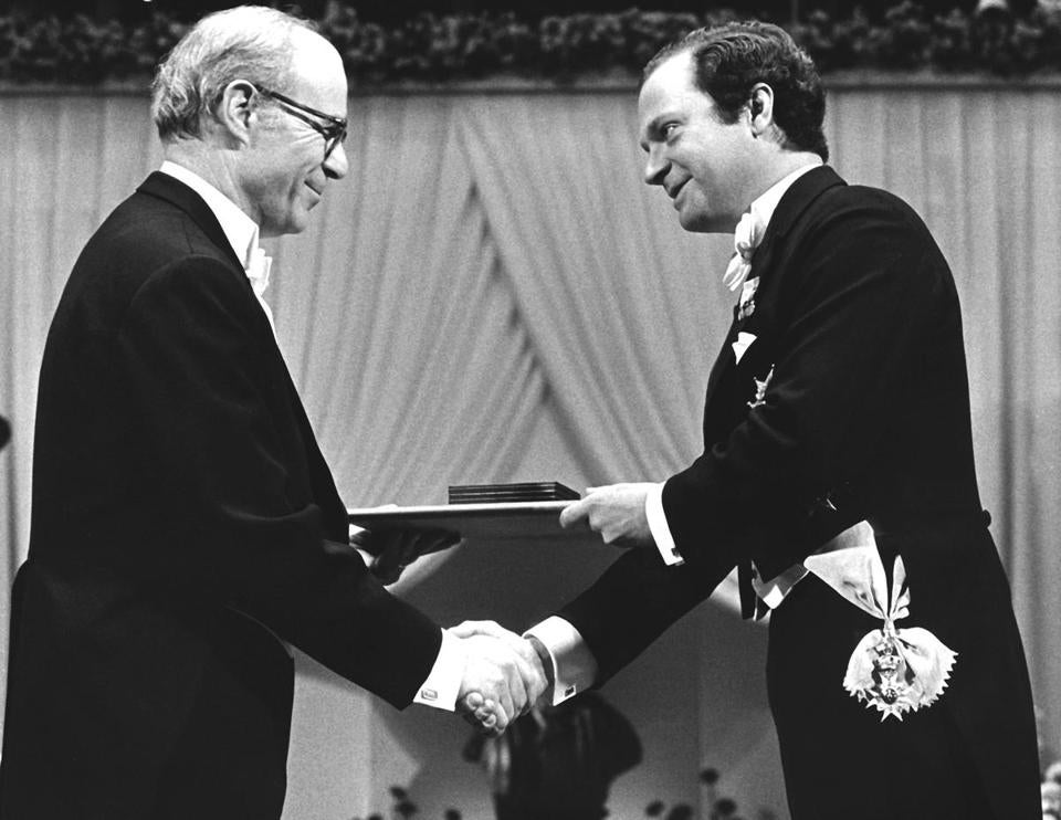 Lawrence Klein was awarded the Nobel Prize in economic science in Stockholm in 1980.