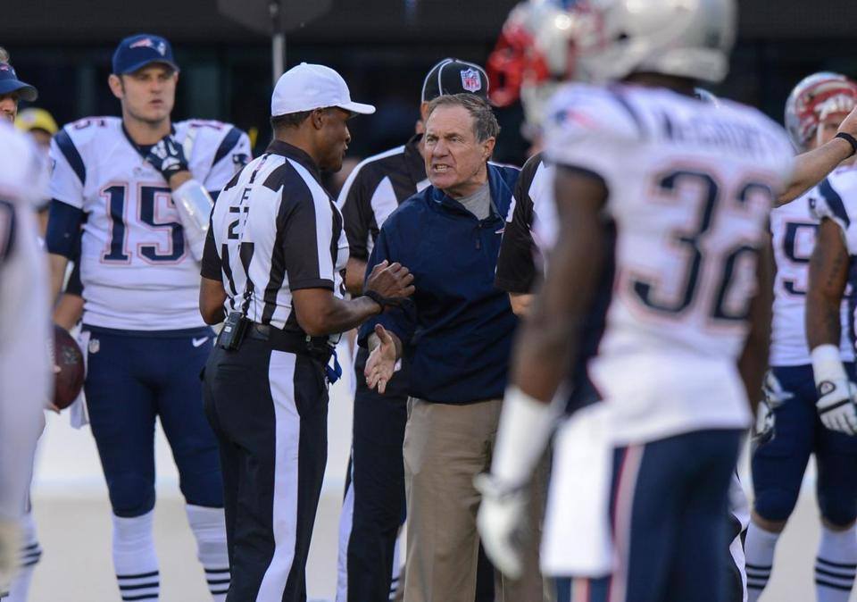 Bill Belichick argued after with referee Jerome Boger in overtime.