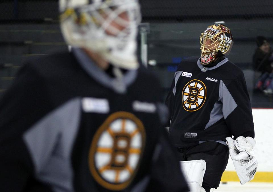 Used to backing up, Chad Johnson (left) will finally get the chance to cede his gate-keeping duties to Tuukka Rask (right).