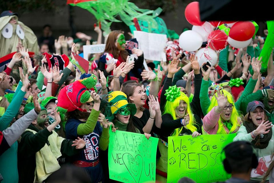 Fans at BU dressed up for a World Series ticket giveaway by Ellen DeGeneres's TV show.