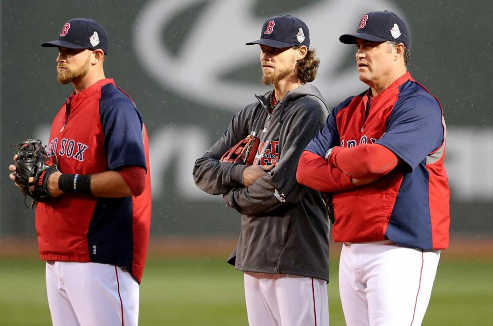 Will Middlebrooks, Clay Buchholz and manager John Farrell stood together during Tuesday's workout.