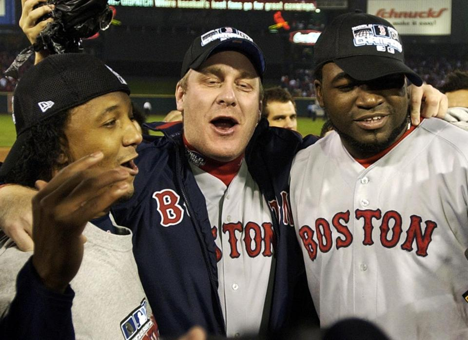 David Ortiz, who won the 2004 title in Boston with Pedro Martinez, left, and Curt Schilling, is the last remaining link to the 2004 team on the 2013 roster.
