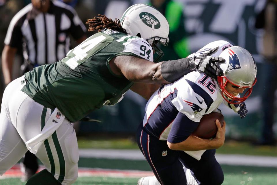 The Patriots struggled on first down on Sunday, Damon Harrison and Jets bringing down Tom Brady three times in the third quarter alone.