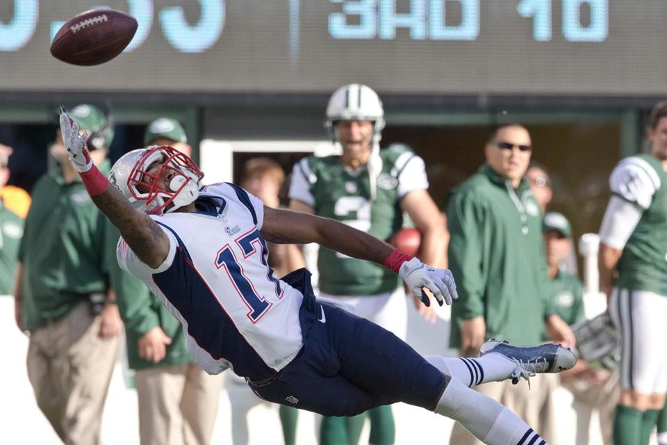 Typical of the Patriots' third-quarter play this season, Aaron Dobson comes up empty on this pass at MetLife Stadium.