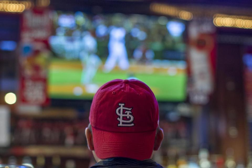 A Cardinals fan took in Game 1 of the Series at Paddy O's in St. Louis on Wednesday.