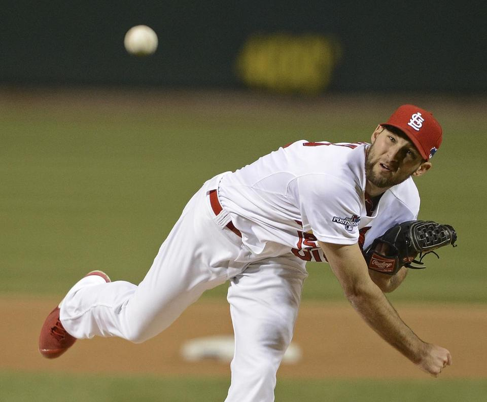 Michael Wacha is seen in the first inning of Game 6 of the NLCS, a game he won, sending the Cardinals to the World Series.