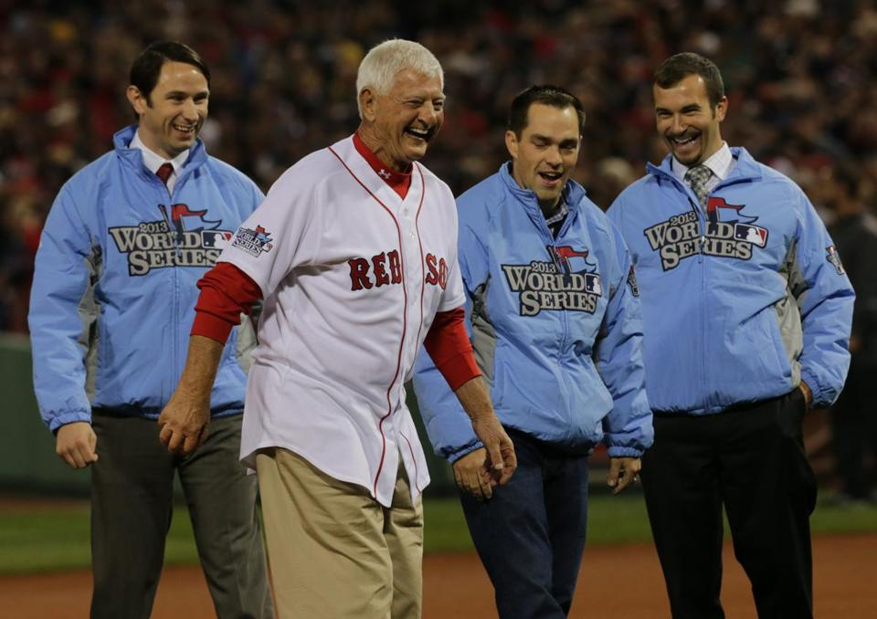 Boston, MA - 10/23/13 - Hall of Famer Carl Yastrzemski throws out the ceremonial first pitch with three medal of honor winners. The Boston Red Sox take on the St. Louis Cardinals in Game 1 of the World Series at Fenway Park. - (Barry Chin/Globe Staff), Section: Sports, Reporter: Peter Abraham, Topic: 24Red Sox-Cardinals, LOID: 6.2.2000692166.