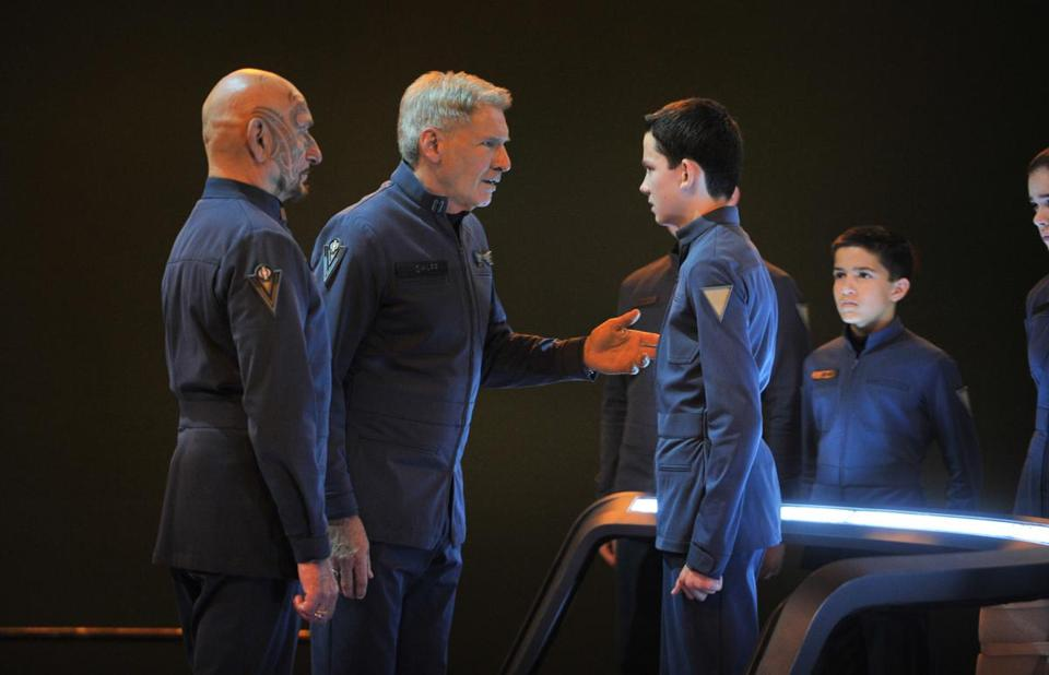 "From left: Ben KIngsley, Harrison Ford, and Asa Butterfield in ""Ender's Game.''"