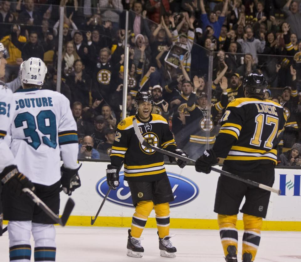 Jarome Iginla celebrated his first goal as a Bruin with teammate Milan Lucic.