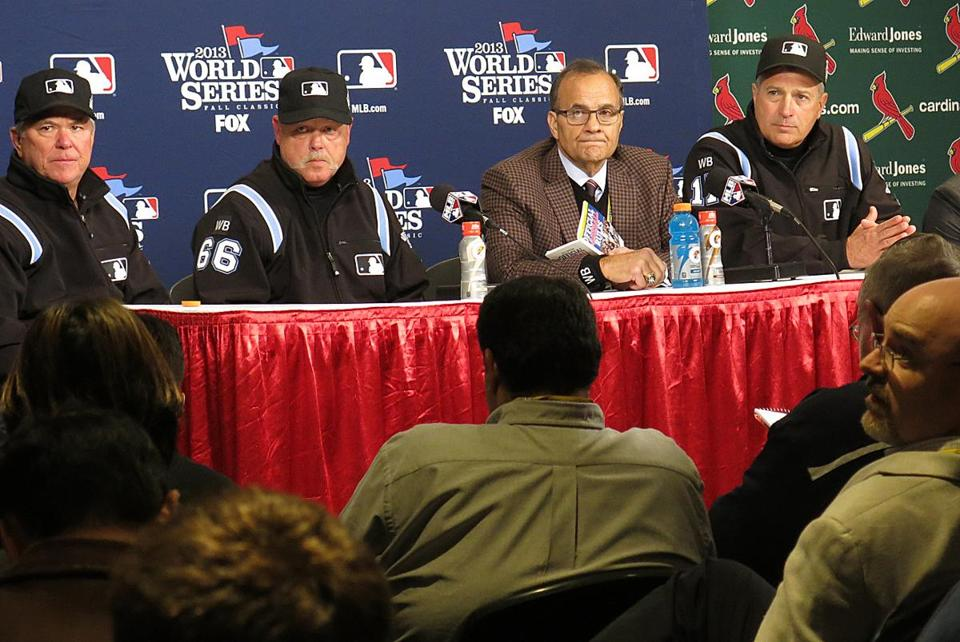 Executive vice president of baseball operations Joe Torre and the umpires addressed the media about the call.