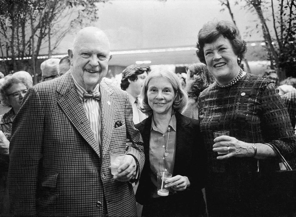 Chefs and cookcook writers James Beard and Julia Child with food editor Judith Jones (center).