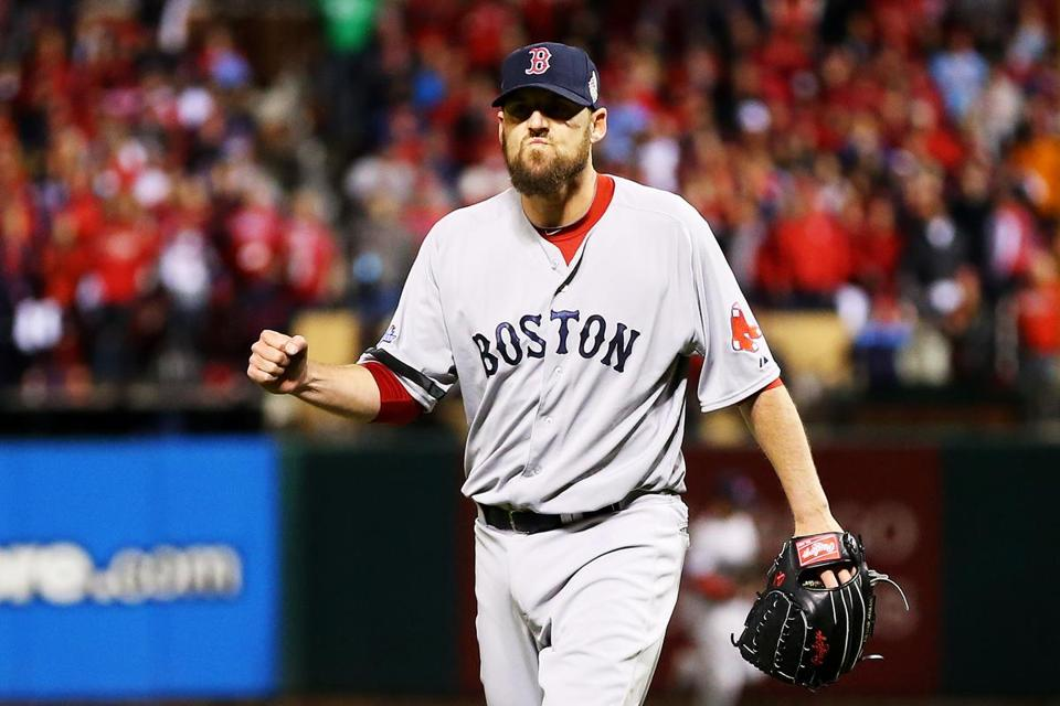 John Lackey pitched a scoreless 8th inning for the Red Sox in their win on Sunday.