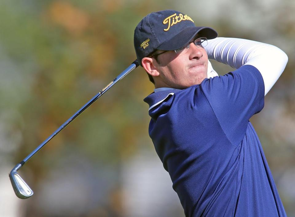 Needham's Jake Shuman stares down his shot en route to winning his second straight Division 1 individual title, this time in a playoff.