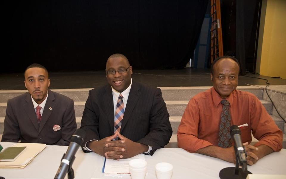 District 7 City Council candidates (from left) Jamarhl Crawford, incumbent Tito Jackson, and Roy Owens appeared at a town hall-style discussion in Roxbury on Monday.
