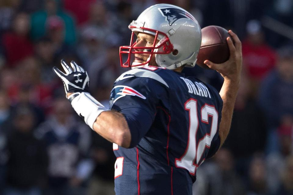 Tom Brady is completing 55.7 percent of his passes, tied for 29th in the NFL.
