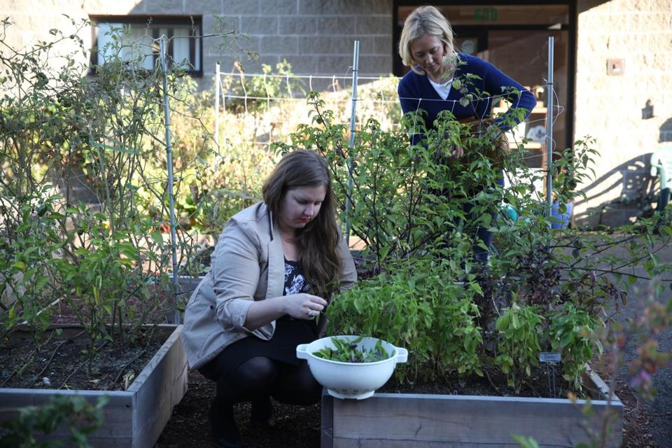 Augusta Nichols-Even (right), shown with Jesse Banhazi at Green City Growers, recently left the male-dominated technology industry.