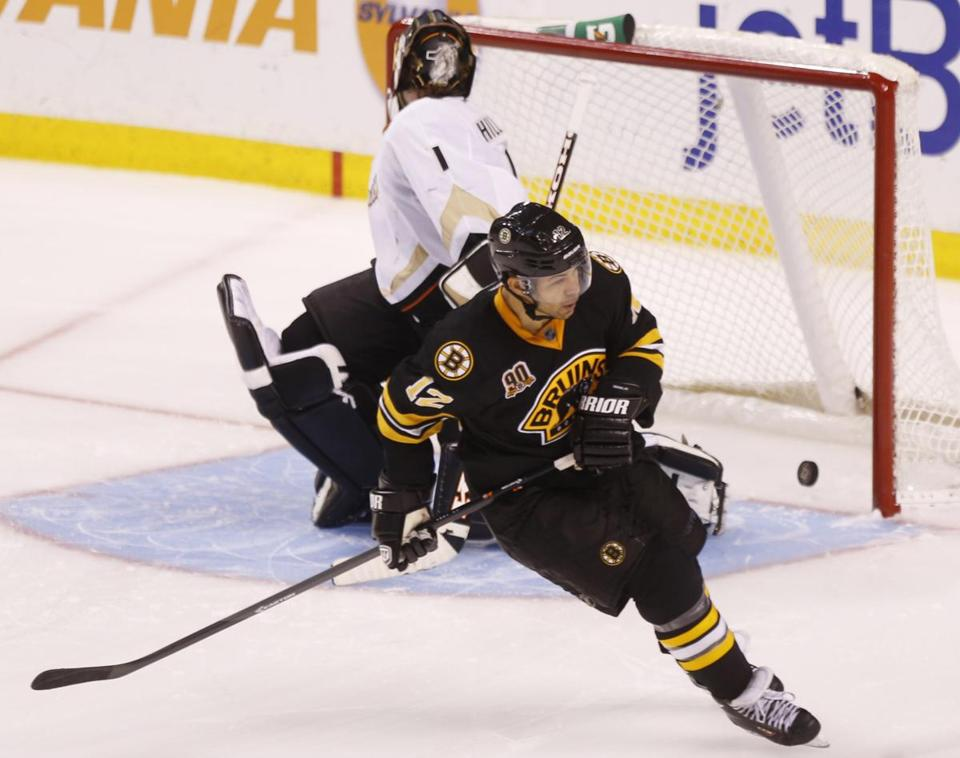Bruins forward Jarome Iginla scored a shootout goal on Anaheim. Iginla would score the only goal of the shootout, giving the Bruins a 3-2 win.