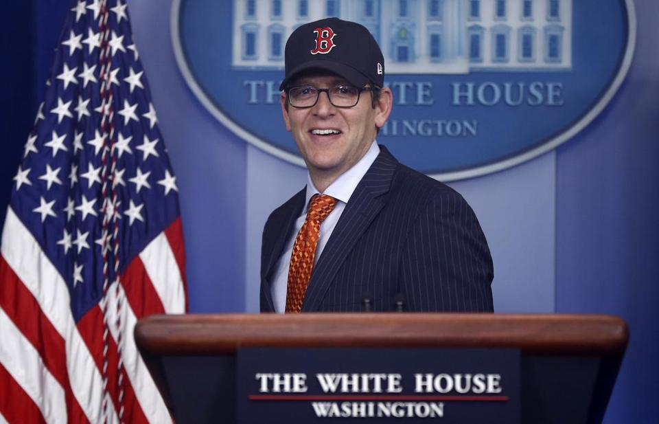 White House press secretary Jay Carney wore a Red Sox hat the day after the team won the World Series.