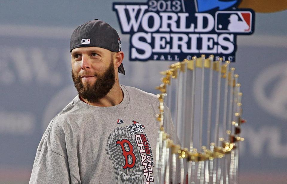 Dustin Pedroia, seen last October, is in spring training, and he says his left thumb is feeling good after surgery in November.