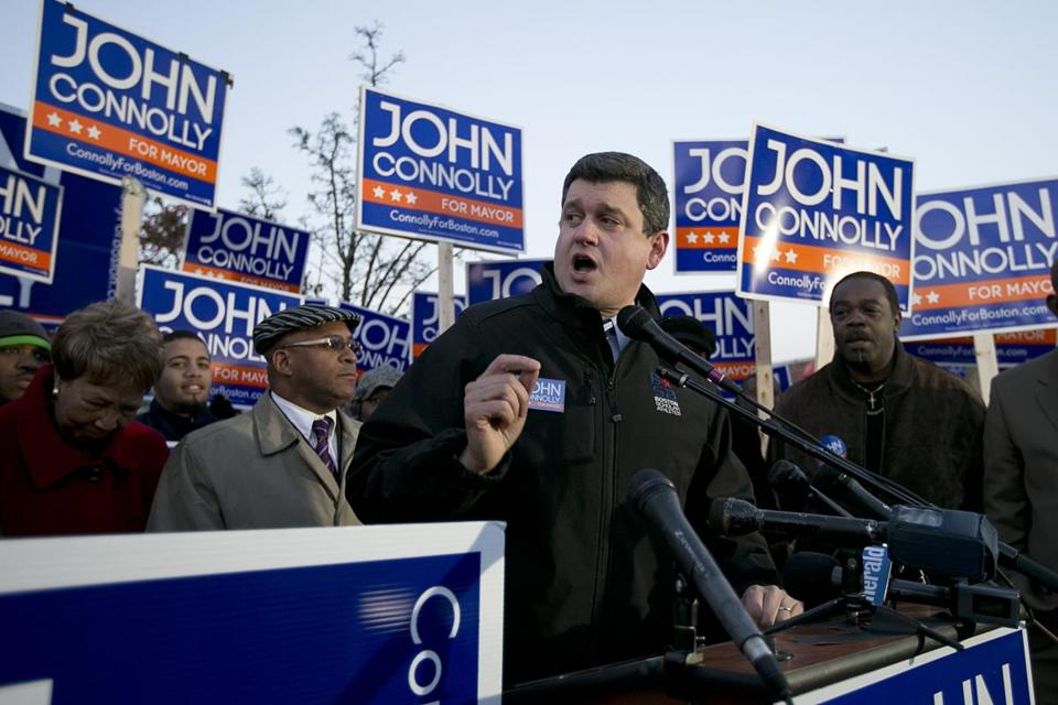 John Connolly spoke at an event in Grove Hall in Roxbury on Monday.