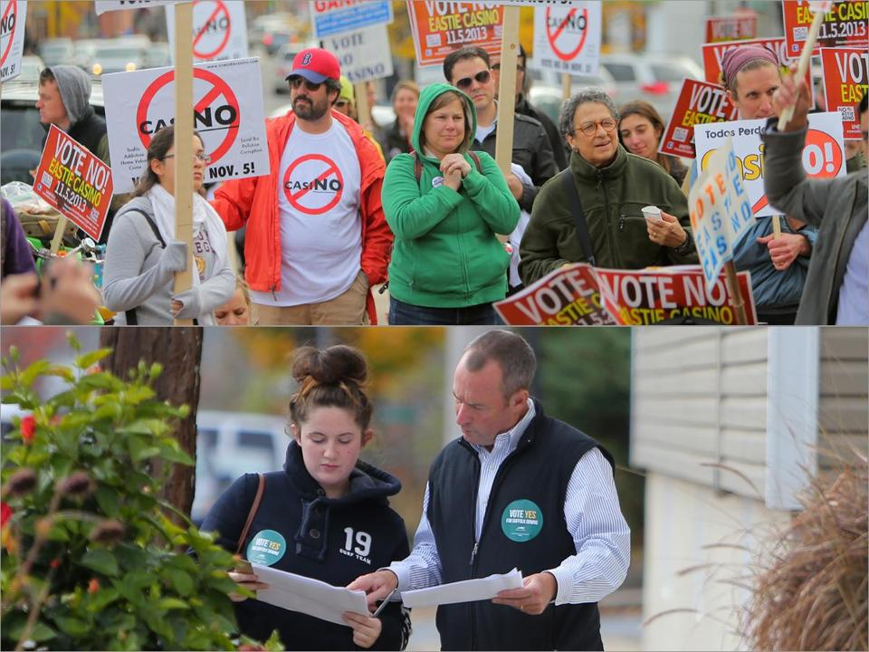 Chip Tuttle (right in bottom photo) of Suffolk Downs and backer Sorcha Rochford planned a canvassing effort in East Boston in support of a casino while opponents rallied for a no vote.