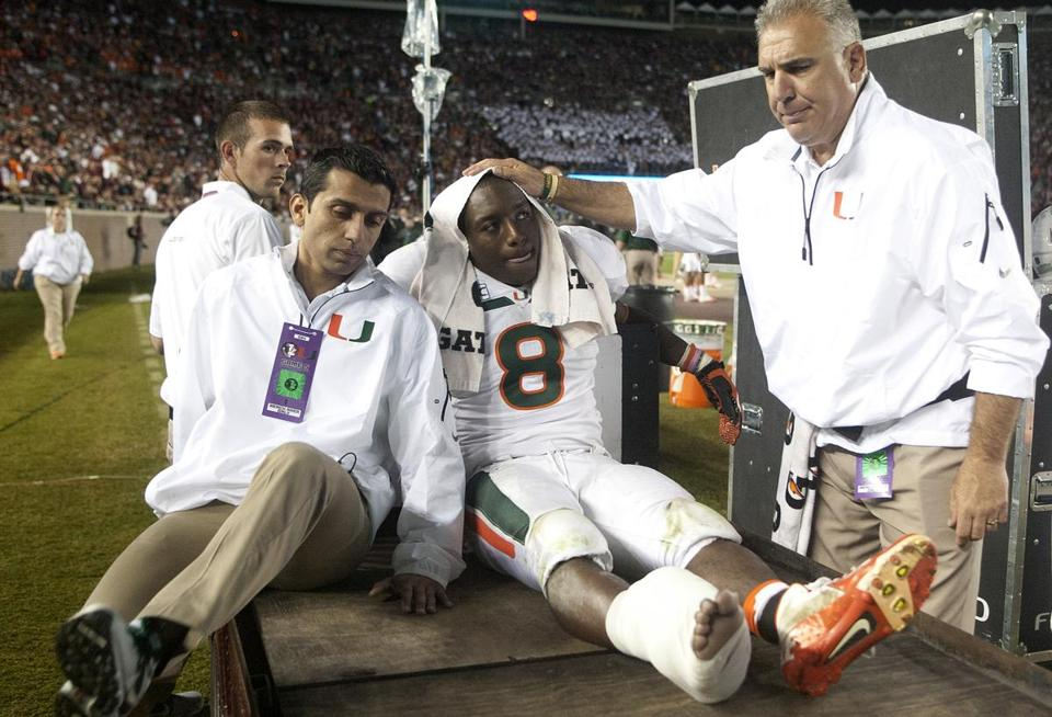 A broken right ankle knocked Duke Johnson out of Saturday's game and the season.
