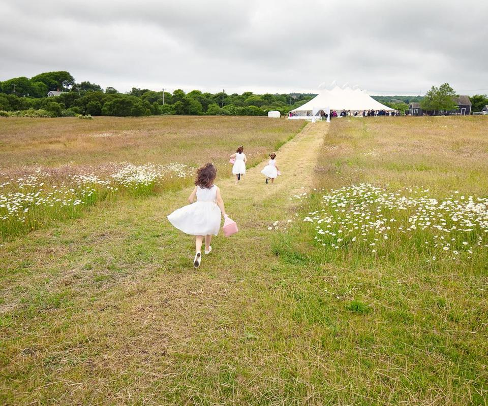A wedding at Allen Sheep Farm in Chilmark.