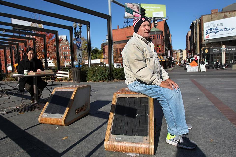 "Rocco Rossi, 76, tried out a seat-e on the Rose Fitzgerald Kennedy Greenway. ""I've never seen anything like it in my life,'' he said."