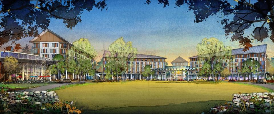 An artist's vision of the $1 billion resort casino proposed by Foxwoods Massachusetts for a Milford site near Interstate 495 and Route 16.