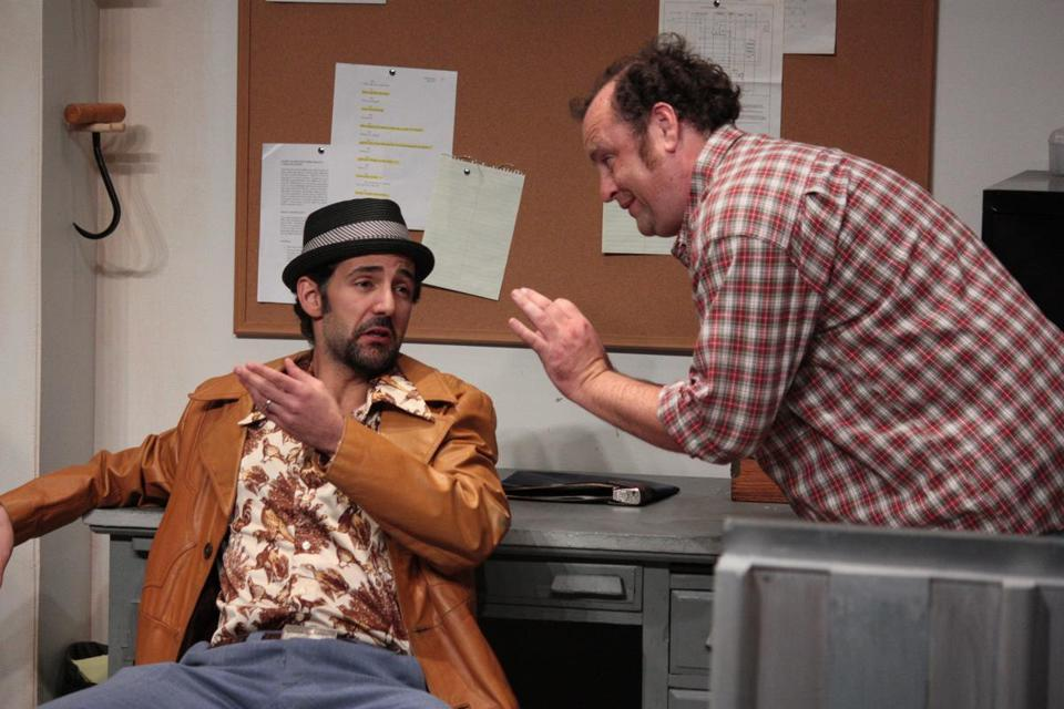 "Nael Nacer (left) and Brandon Whitehead in Boston Playwrights Theatre's production of ""Windowmen."""