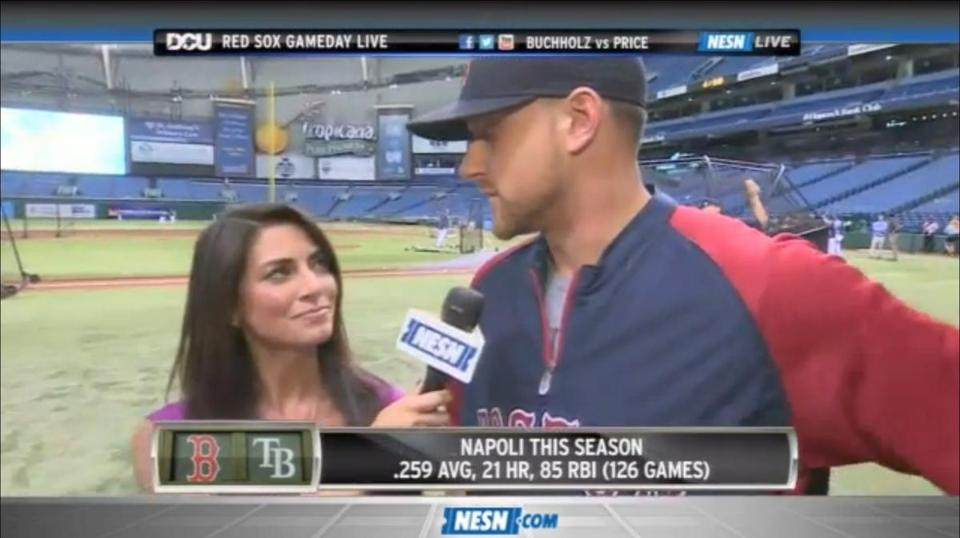 A screenshot of Jenny Dell interviewing Will Middlebrooks.
