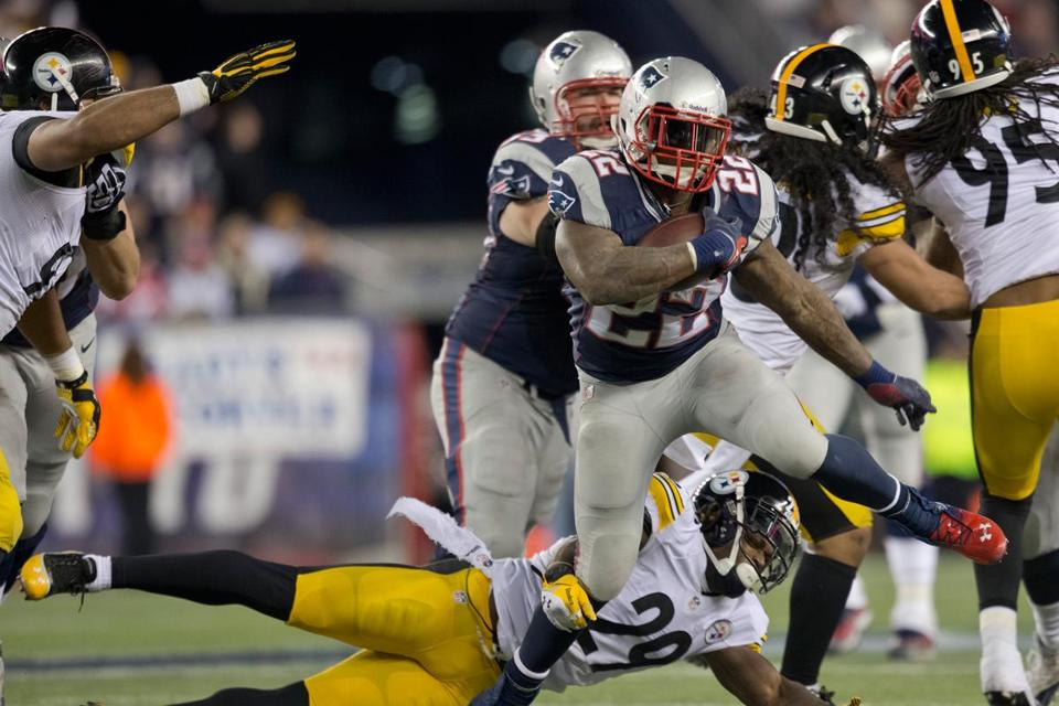 Patriots running back Stevan Ridley trampled Ryan Clark (29) and the Steelers to the tune of 115 yards and two TDs.