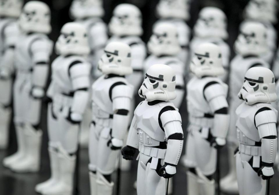 "Stormtrooper figurines were on display at a September exhibition celebrating the 30th anniversary of ""Star Wars: Episode VI - Return of the Jedi."""