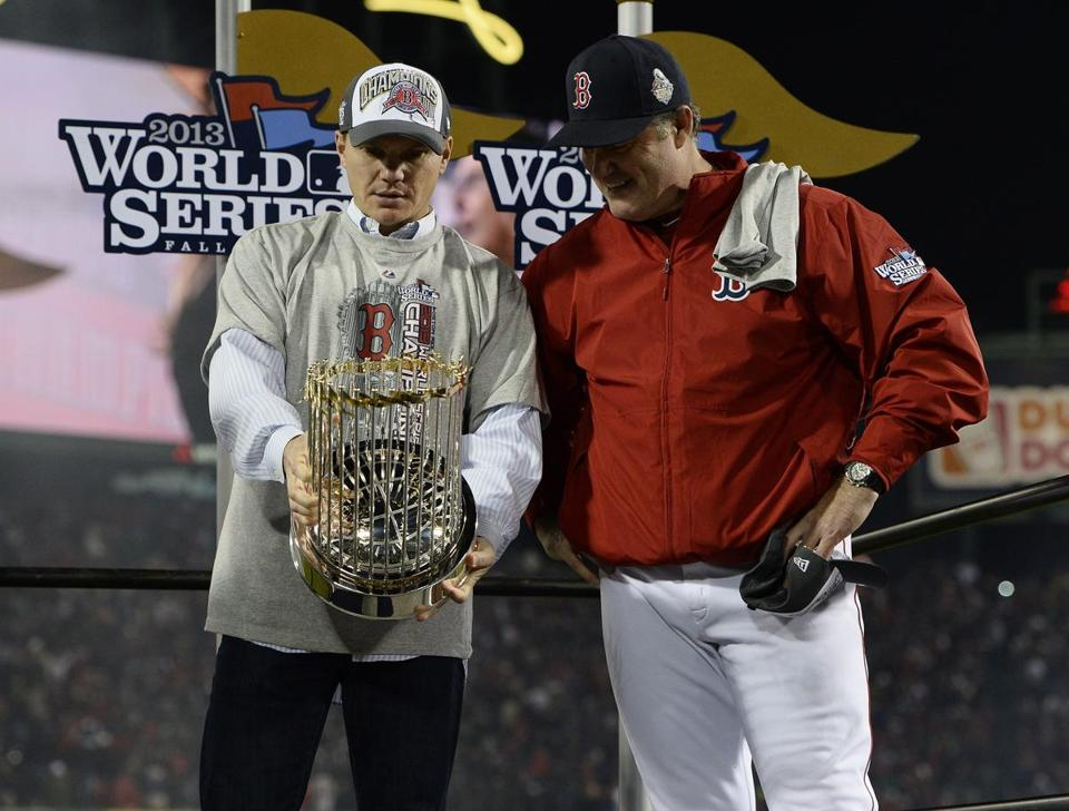 Ben Cherington and John Farrell gazed at the hardware, then went right back to work.