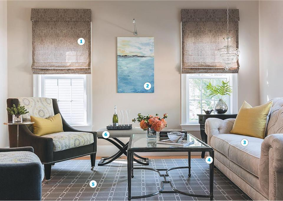 """The room has a tranquil vibe,'' says Sheri Edsall. ""By keeping the patterns tonal, no one thing stands out, but there are a lot of little things to take in."""