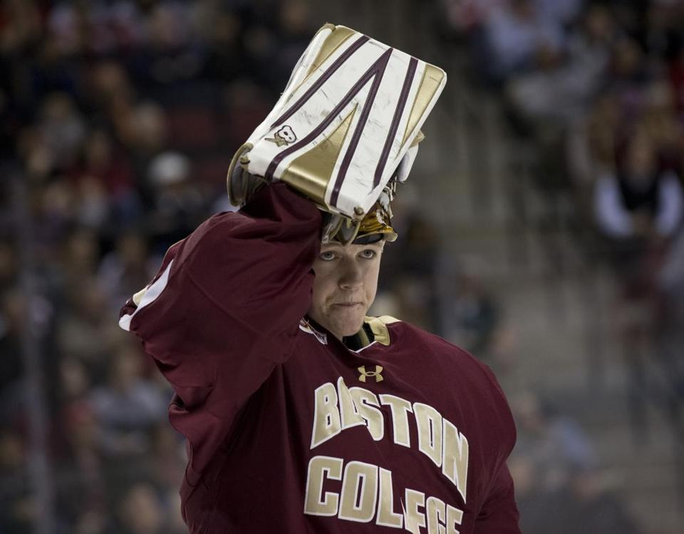 Thatcher Demko made 27 saves in his first Beanpot game last week.
