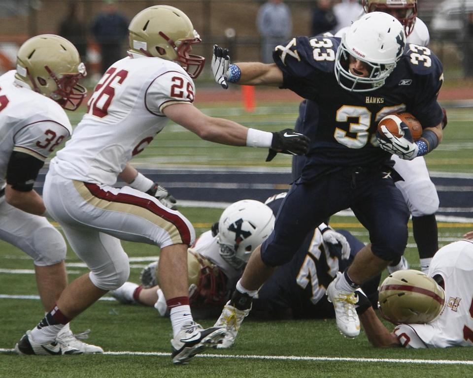 Xaverian Brothers running back Shayne Kaminski (right) will miss the Hawks' Super Bowl game with a leg injury.