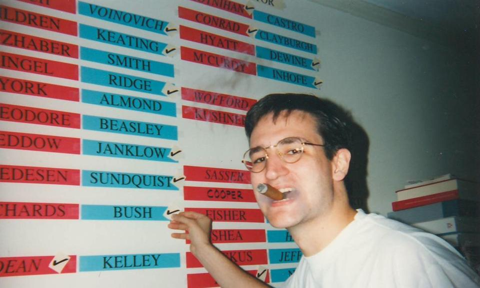 Ted Cruz celebrated Republican victories across the country at Harvard Law School in November 1994. He marked off George W. Bush's win in the Texas governor's race.