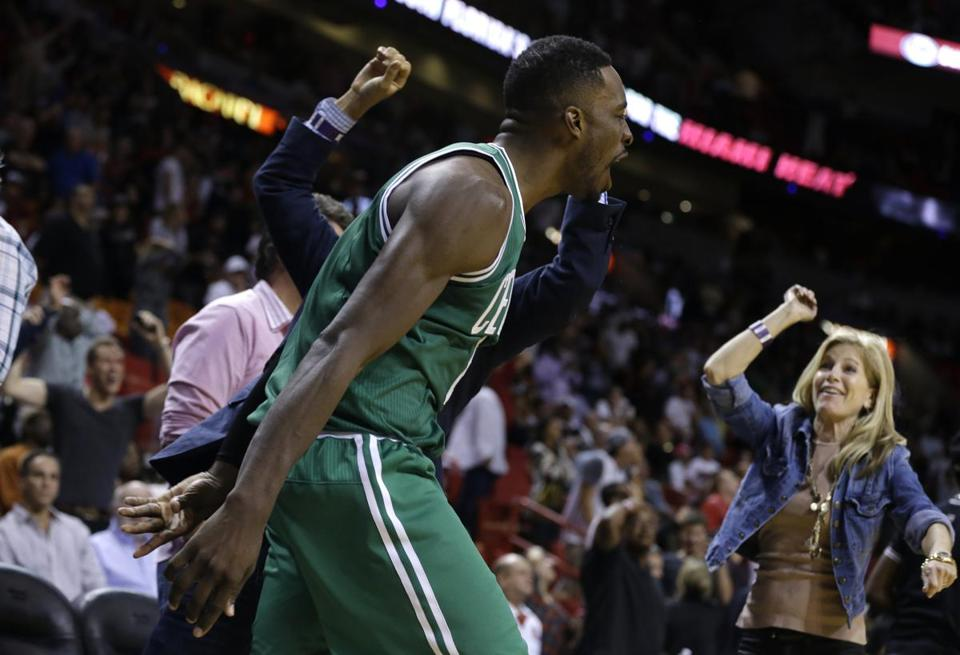 Celtics guard Jeff Green celebrated after hitting his buzzer-beating shot to beat the Heat on Saturday.