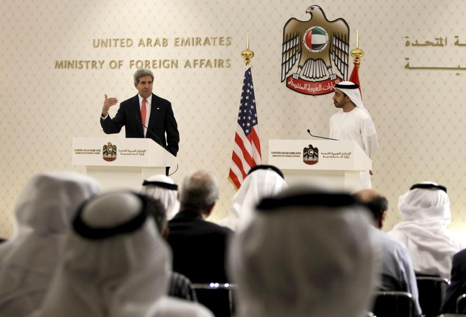 US Secretary of State John Kerry  and United Arab Emrites minister of foreign affairs Sheikh Abdullah bin Zayed Al Nahyan spoke at a joint press conference in Abu Dhabi on Monday.