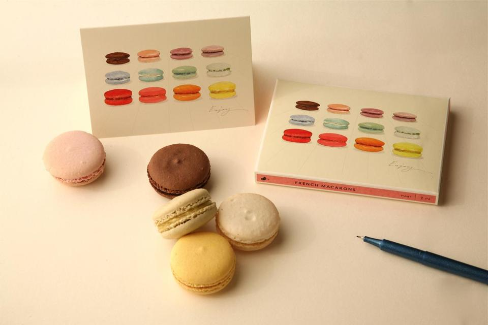 Felix Doolittle offers cards with food images like French macarons.