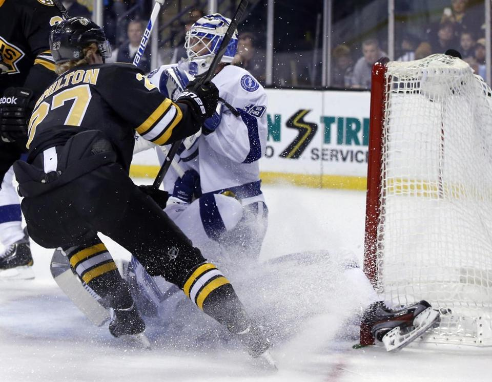 In a cloud of ice chips, Steven Stamkos slams into the goalpost. (AP Photo/Elise Amendola)